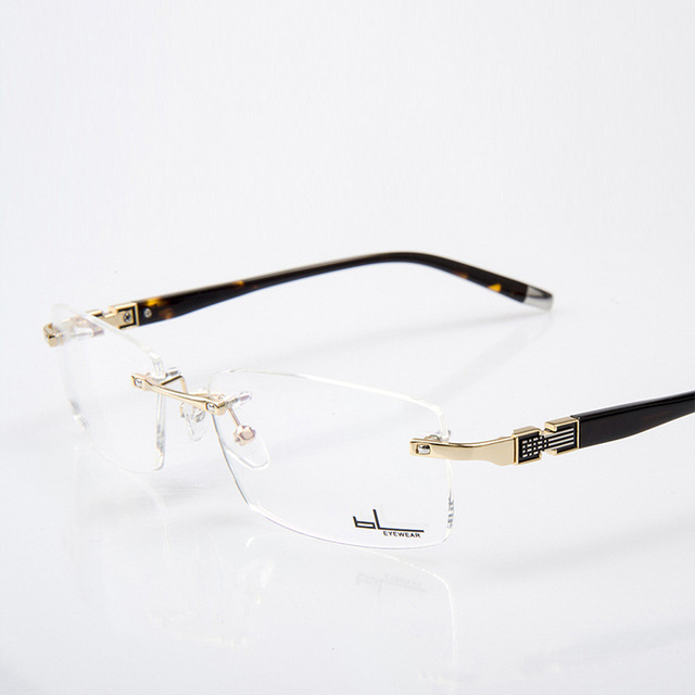 7a60be824db Best Quality Customized Rimless Gold Glasses Frame Men Spectacles Solid  Metal Prescription Eyewear Optical Lenses Eyeglasses