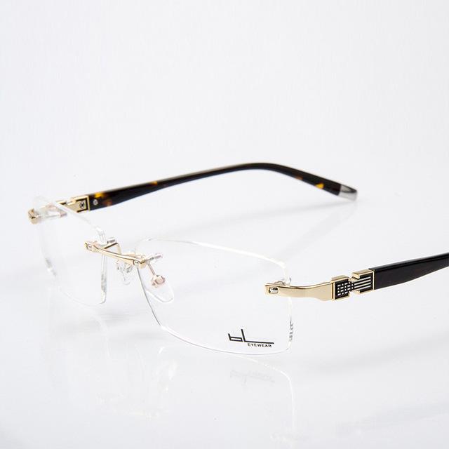 Mejor Calidad Personalizado Sin Montura de Oro Marco de Los Vidrios Hombres Gafas Anteojos Lentes Ópticos Gafas Graduadas de Metal Sólido Hombre