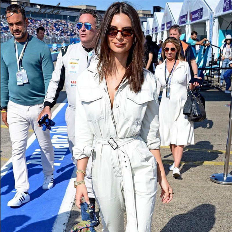 Macheda New Autumn Personality Denim Jeans Tight Sashes Siamese Jumpsuit Women Jumpsuit Long Sleeve Rompers jeans con blazer mujer