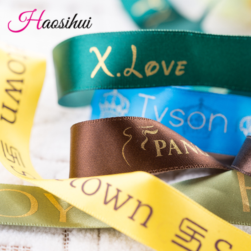 Free design 6mm 75mm customized printed logo ribbon gift packaging satin polyester decoration for wedding event 100 yard lot in Ribbons from Home Garden