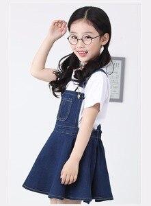 Image 3 - Chumhey 5 14T yaz kız askı elbise kız Denim önlük fişleri Mini elbiseler tulum çocuk giysileri çocuk giyim