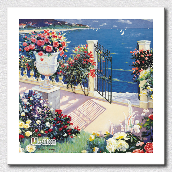 House beach oil painting picture landscape printing canvas art for home decoration gift for kids  /  24'x24'