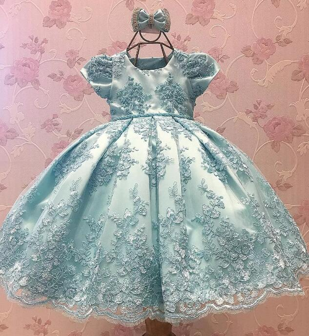 Beaded Appliques Lace Flowers Girl Dresses with big Bow Elegant Lace First Communion Dresses Baby Girls Birthday Dress цены онлайн
