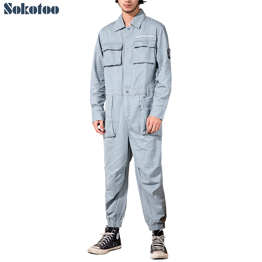 Sokotoo Men's Multi Pockets Cargo Joggers Jumpuists Loose Patches Hip Hop Jogger Pants Coveralls Working Clothing Overalls
