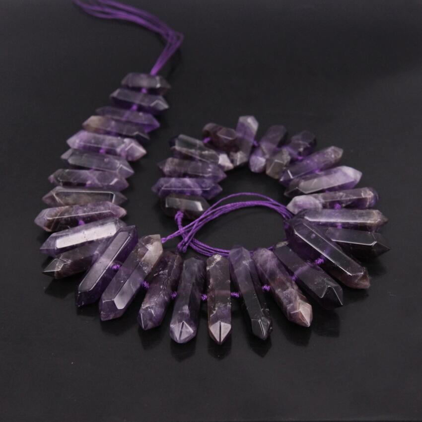 15.5strand Center Drilled Amethysts Double Point Beads,Purple Crystal Faceted Nugget Slise Pendant Nacklace Beads Jewelry Bulk