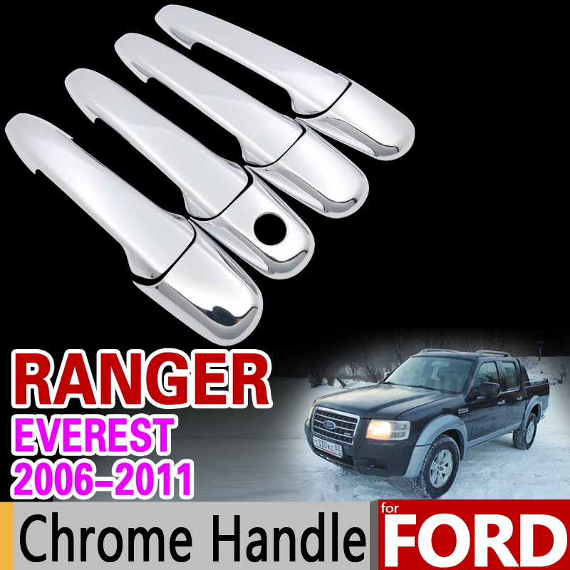 for Ford Ranger Everest 2006-2011 Luxurious Chrome Handle Cover Trim Set 2007 2008 2009 2010 Car Accessories Sticker Car Styling abs chrome front grille around trim for ford s max smax 2007 2010 2011 2012