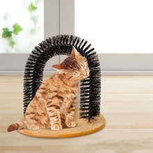 Cat's Self Groomer Arch Toy with Round Fleece Base