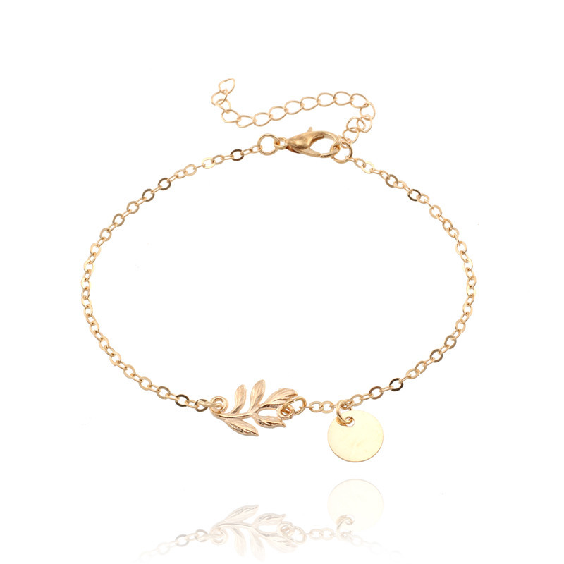 Summer Holiday Jewelry Gold Silve Leaf Bracelet For Women Bangle Plated Round Charm Bracelet Girl Lady Favourite Hand Chain