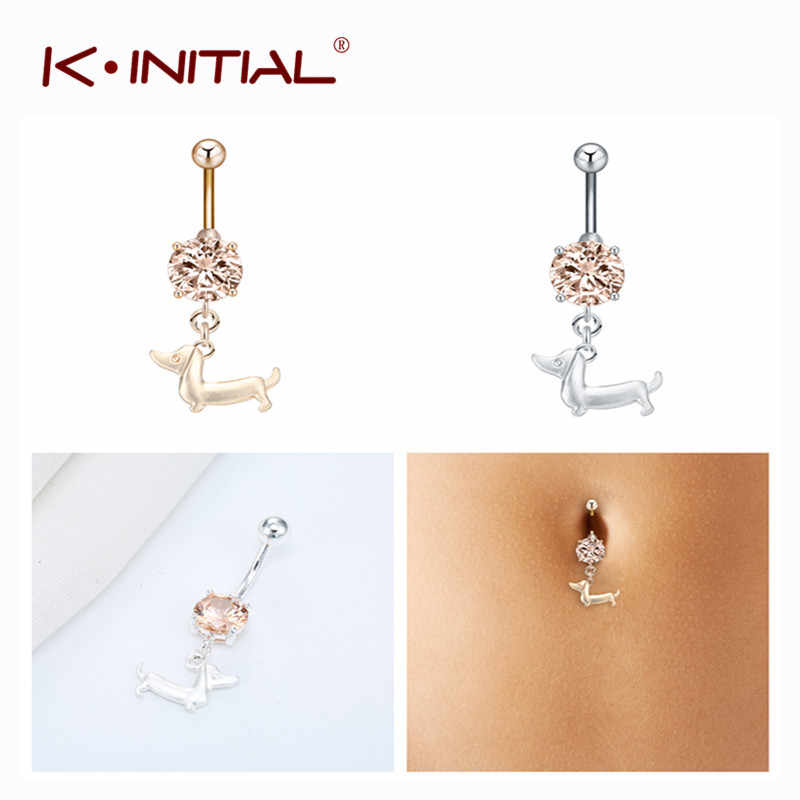 Kinitial Stainless Steel Belly Navel Ring Crystal Dachshund dog Dangle Navel Rings Women Sexy Beach Body Piercing Jewelry