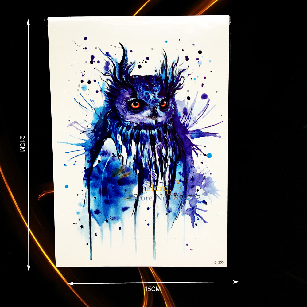 1PC Sexy Blue Ink Owl Tattoo Body Art Painting Temporary Tattoo Sticker Waterproof Arm Tatoo Sleeve For Men Women Armband HHB255