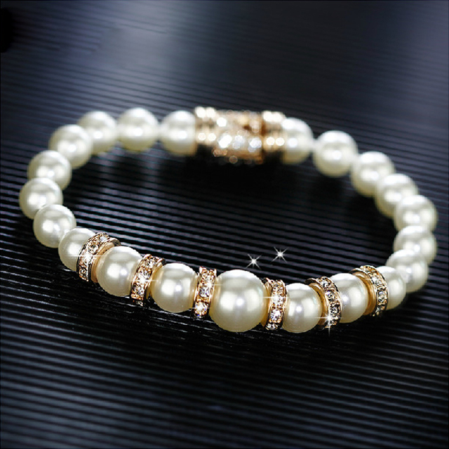 Luxury Simulated Pearl Beads Charm Bracelets & Bangles for Women Jewelry Rose Gold plated Austrian Crystals Pulseira Bijoux