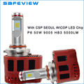 Car-styling Auto 50 W HB3 lámpara LED 9005 faros led 6000 K para SEÚL CSP chips LED Hi Lo 4000Lm 5000LM DC11V-30V