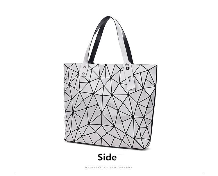 WSYUTUO Handbag Female Folded Ladies Geometric Plaid Bag Fashion Casual Tote Women Handbag Shoulder Bag 10