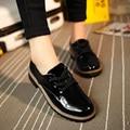 AD AcolorDay Дешевые Весна Осень Зашнуровать Женская Обувь Повседневная твердые Лакированной Кожи Плоские Туфли Женщин Дешевые Оксфорд Обувь для женщины