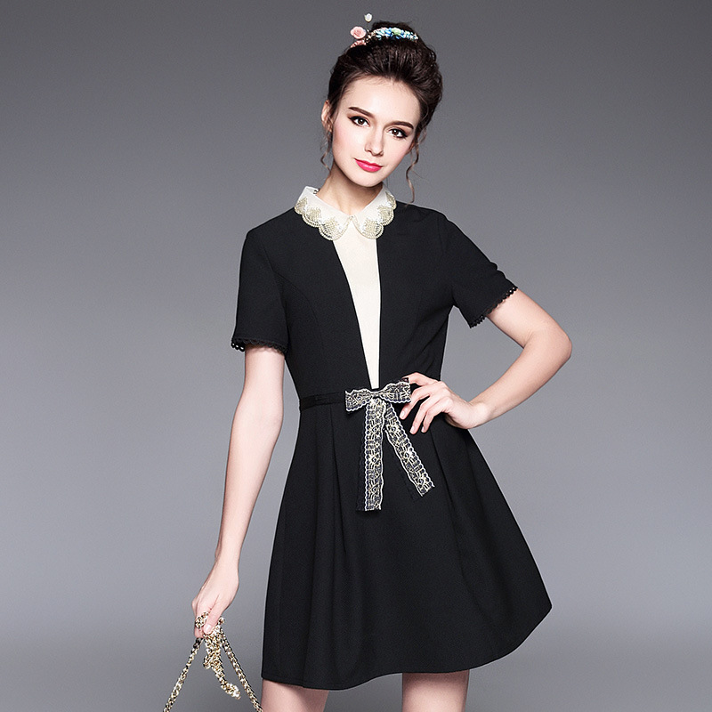 High Quality L to 4XL 5XL Plus size Women summer Dress 2017 New Short sleeve  Beaded Peter Pan Collar Bow A-line Black Dresses 6c569d325016