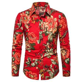 Long sleeve Blouse Mens clothing Flower Men Shirt Plus size Floral Hawaiian Social Shirt Men Red New hawaiian shirt men camisa social flower summer long sleeve new model shirts mens floral blouse men clothing