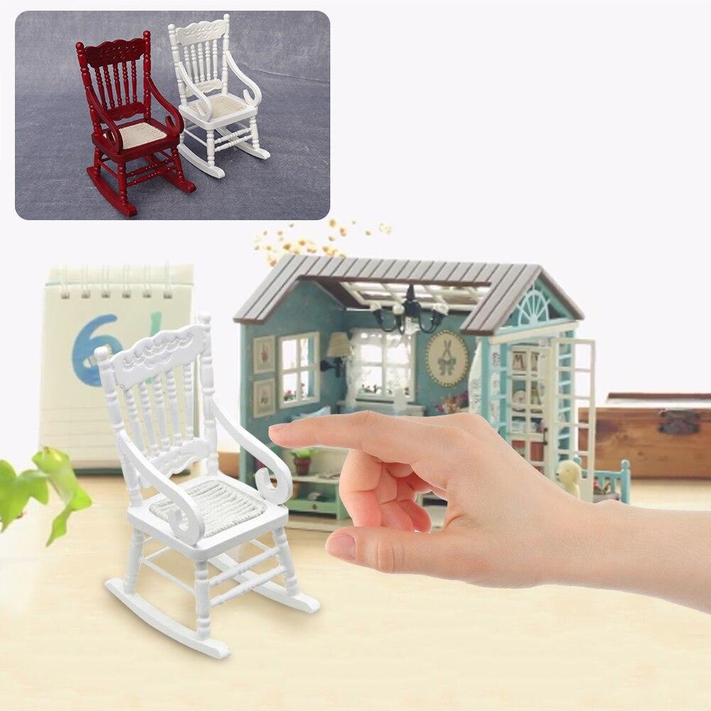 Mini Dollhouse Miniature Rocking Chair Pretend Play Furniture Toys ...