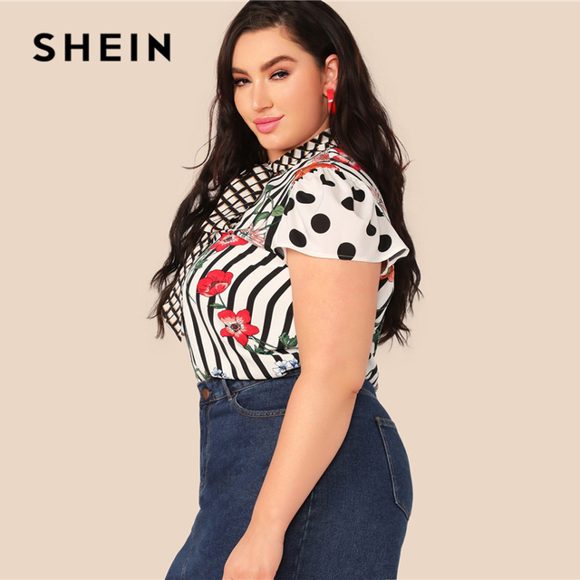 SHEIN Plus Size Multicolor Tie Neck Mixed Floral Print Top Blouse Women Summer Elegant Cap Sleeve Stand Collar Striped Blouses 1