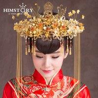Wysokiej Klasy Chiński Narodowy Wedding Hairwear Tradycyjne Białe Perły Panna Młoda Włosy Tiary Ślubne Akcesoria Do Włosów