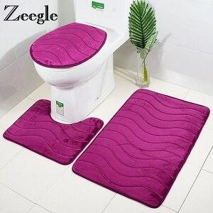 Image 1 - Zeegle 3pcs Bathroom Mat Set Toilet U Type Mat Shower Mats Absorbent Foot Rug Non slip Floor Mat Pedestal Rug Lid Toilet Cover