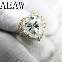 AEAW 18 K кольца из желтого золота для женщин Moissanites обручальное кольцо 5.0ct карат роскошный Сертифицированный специальный сердечный зубец уста