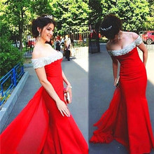Sexy Boat Neckline Long Evening Gown Formal Red Mermaid Arabic Floor Length Wedding  Party Dress 49dd113f8859