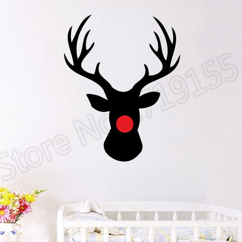 YOYOYU Wall Decal Reindeer Christmas Stickers wall decal for interior home decor waterproof Vinyl Decals xmas Decor ZW66