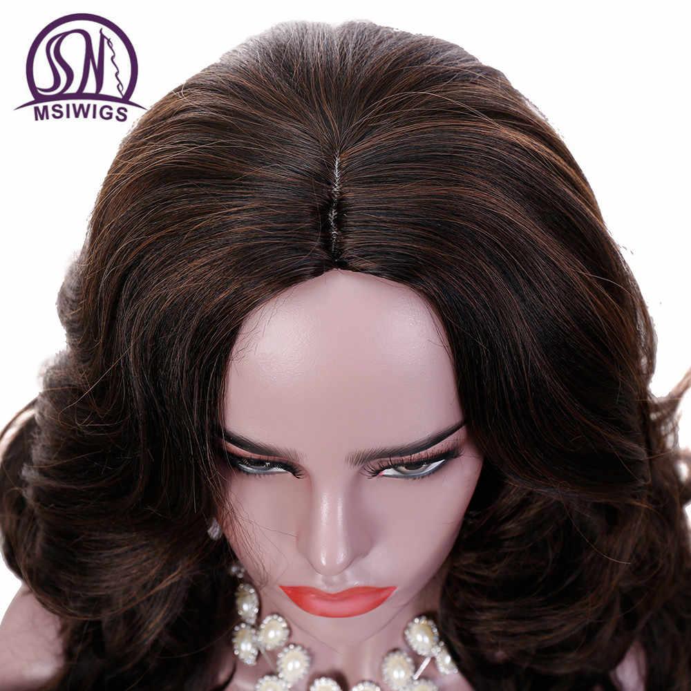 MSIWIGS 24 Inç Uzun Dalgalı Peruk Kadınlar için Koyu Kahverengi Ombre Sentetik Peruk Ücretsiz Hairnet Saç Isıya Dayanıklı