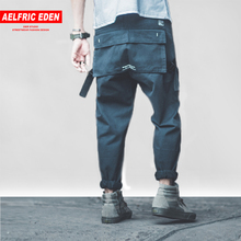 Aelfric Eden 2018 Casual Mens Pants Multi pocket Ribbon Patch Hip Hop Trousers Harem Joggers Harajuku