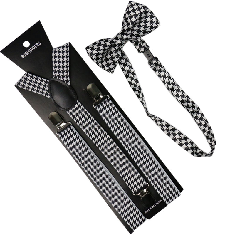 High Quality 2.5cm Wide Black White Houndstooth Men Womens Suspenders Bow Tie Set Solid Elastic Suspenders And Bowtie Shirt Brac