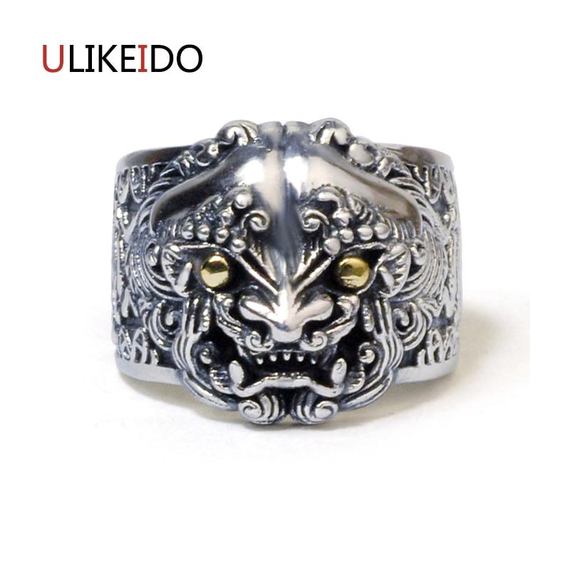 100% pur 925 bijoux en argent Sterling Lion anneaux large Version hommes chevalière anneau pour les femmes spécial beau cadeau 1141