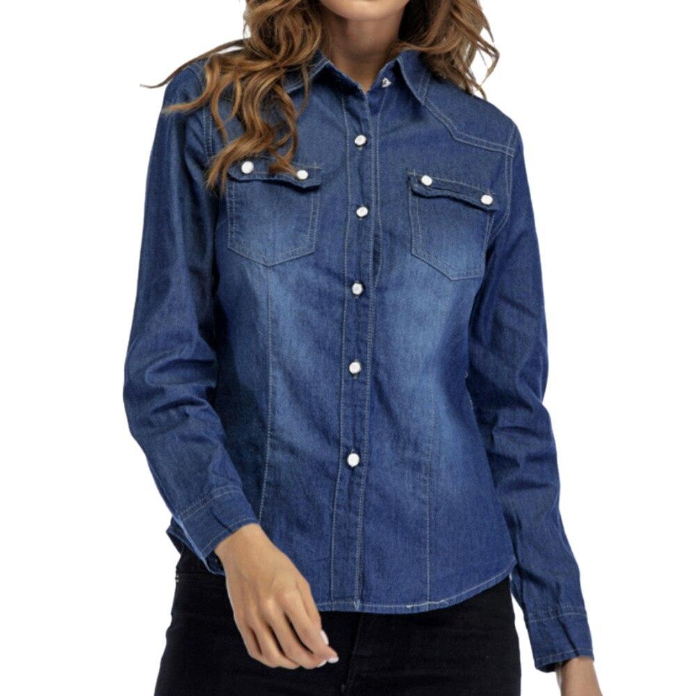 Plus Size Female Denim Shirt women's blouses Long Sleeve Casual Shirts  Ladies Turn-down Collar