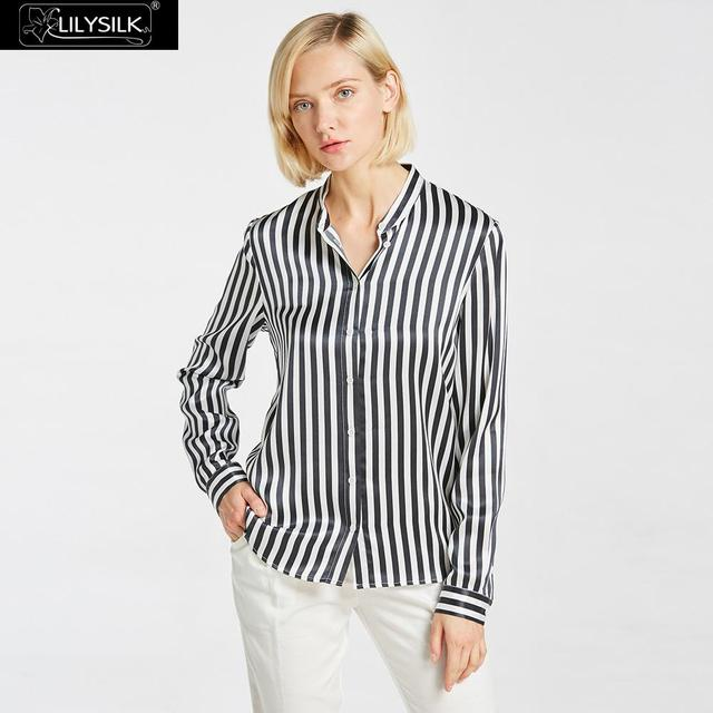 0964f36e12538 LILYSILK 22mm Cool Vertical Stripes Silk Blouse Black and White Stripe NEWS  Free Shipping