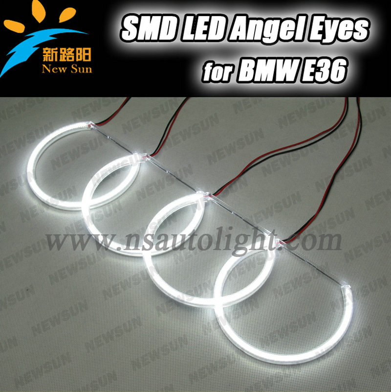 3014 SMD led angel eyes wholesale price 131mm x 4 halo rings kit best quality car daytime headlight for BMW e46 e38 e36 e39 car styling 131mm 4 led cob angel eyes halo rings kit for bmw e46 e39 e38 e36 3 5 7 series daytime runing lights drl retrofit