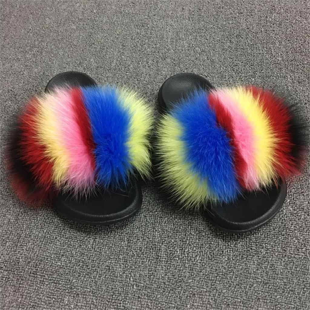 2019 Womens Summer Outdoor Slippers Real Fur Slippers Rainbow Colors Women Slippers Beach Fox Fur Slides,See as pic,6