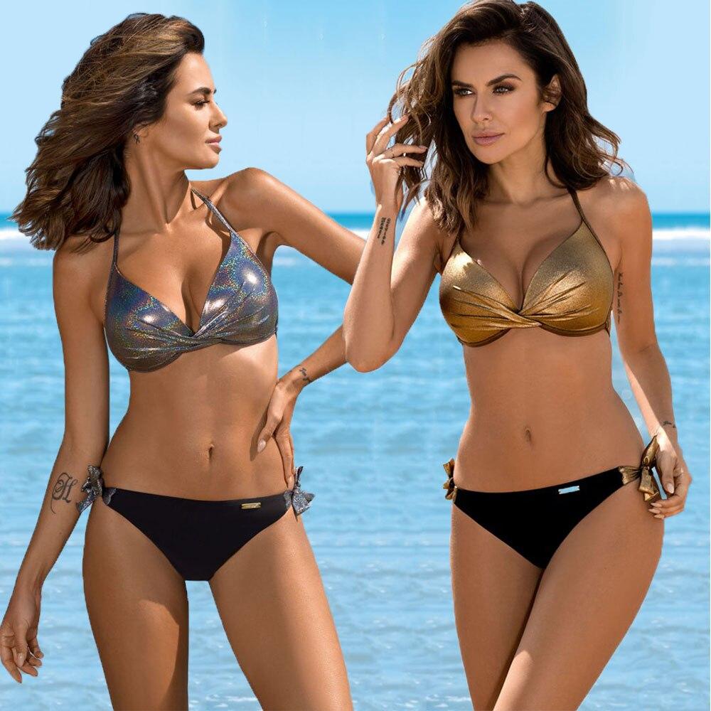 Sexy Push Up Bikini 2019 Swimsuit Women Solid Sequin Swimwear Bikini Set Mujer Beachwear Bathing Suit Femme Bandage Biquini