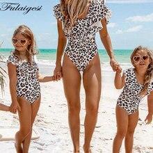 Купить с кэшбэком Mom Daughter Swimwear Family Look Mommy 2019 Ruffle Leopard Matching Clothe Push Up Sexy Swimsuit Kids  Girls One Piece Monokini