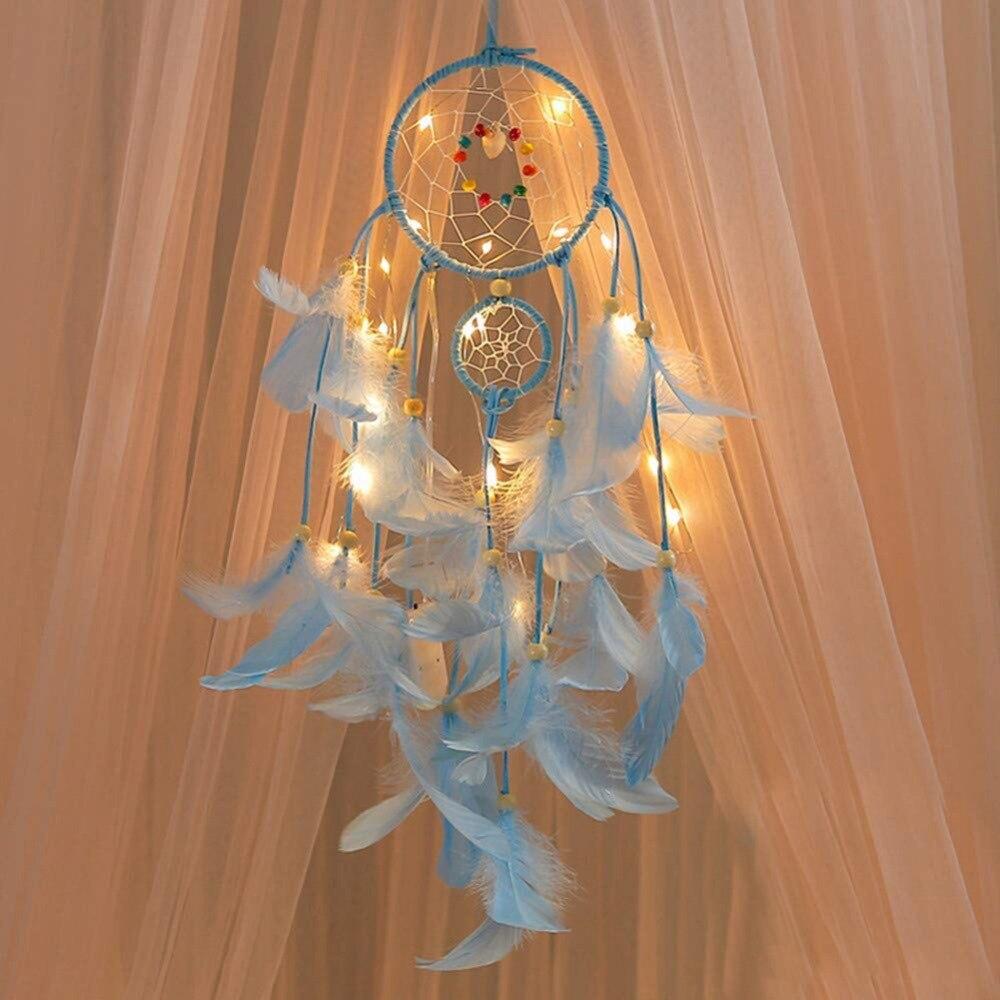 20 LED Light DIY Dream Catcher Girl Room Bedroom Hanging Craft Home Decor