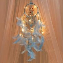 2 м освещение Ловец снов подвесной DIY 20 Светодиодная лампа перо ремесла колокольчики Девушка Спальня романтическое подвесное украшение подарок