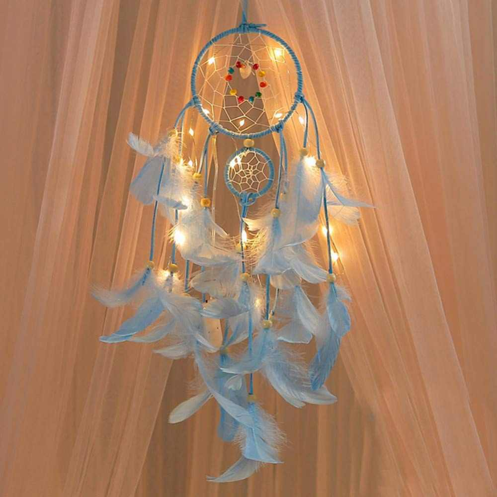 2 Meters Lighting Dream catcher hanging DIY 20 LED lamp Feather Crafts Wind Chimes Girl Bedroom Romantic Hanging decoration gift