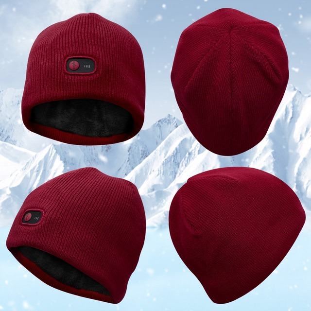 Red 7.4V battery heated Beanie Caps for Women Heated WarmStretchy Soft  Winter Knit Caps Headwear 4