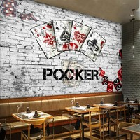 Free Shipping 3D European American Retro Poker Chess Entertainment Bar Chess Room Background Wall Mural Stereo
