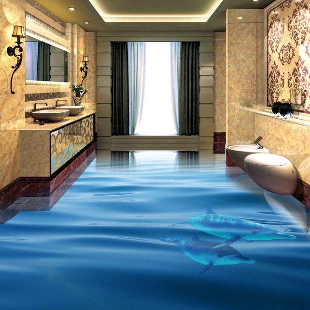 Aliexpress Buy Ocean Dolphin Photo Wallpaper 3d Floor Tiles