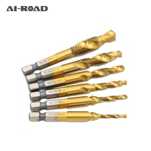 цена на 6pcs Titanium Hex Shank Hand Tap HSS 6542 Screw Spiral Point Thread Metric Plug Drill Bits M3 M4 M5 M6 M8 M10 Fit Metal Steel