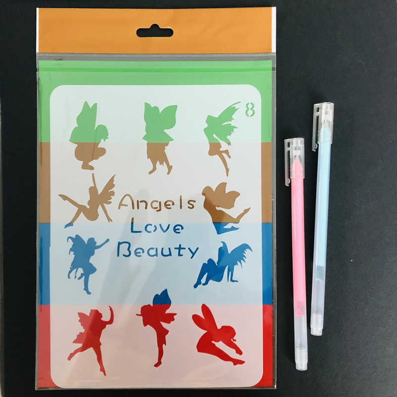Premium Quality T-shirt Chalkboard Stencils Fairy Angels Body Painting Card Making Scrapbook Planner Organiser DIY Drawing Tools