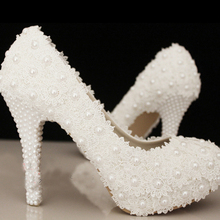 Free Shipping Elegant Ivory Lace Beading Wedding Shoes Low heel Bridal Dress Shoes Bridesmaid Shoes