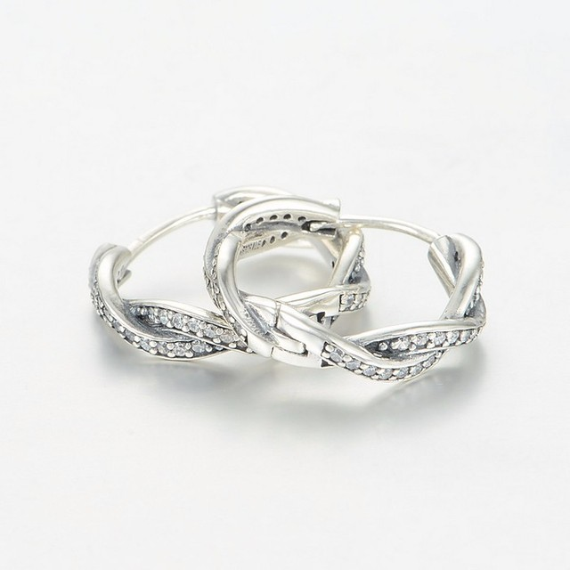 100% 925 Silver Pave Braided Earrings for Women Sterling-Silver-Jewelry Earring with Clear Cz Wholesale