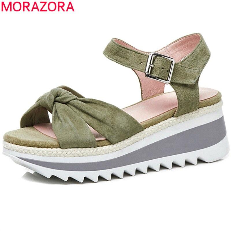D'été Daim Femmes forme Mariage Plate De Morazora Clair Boucle Sandales Arrivée Noir Cales En Partie Chaussures Simple Cuir vert 2018 Nouvelle TtAtvq0x