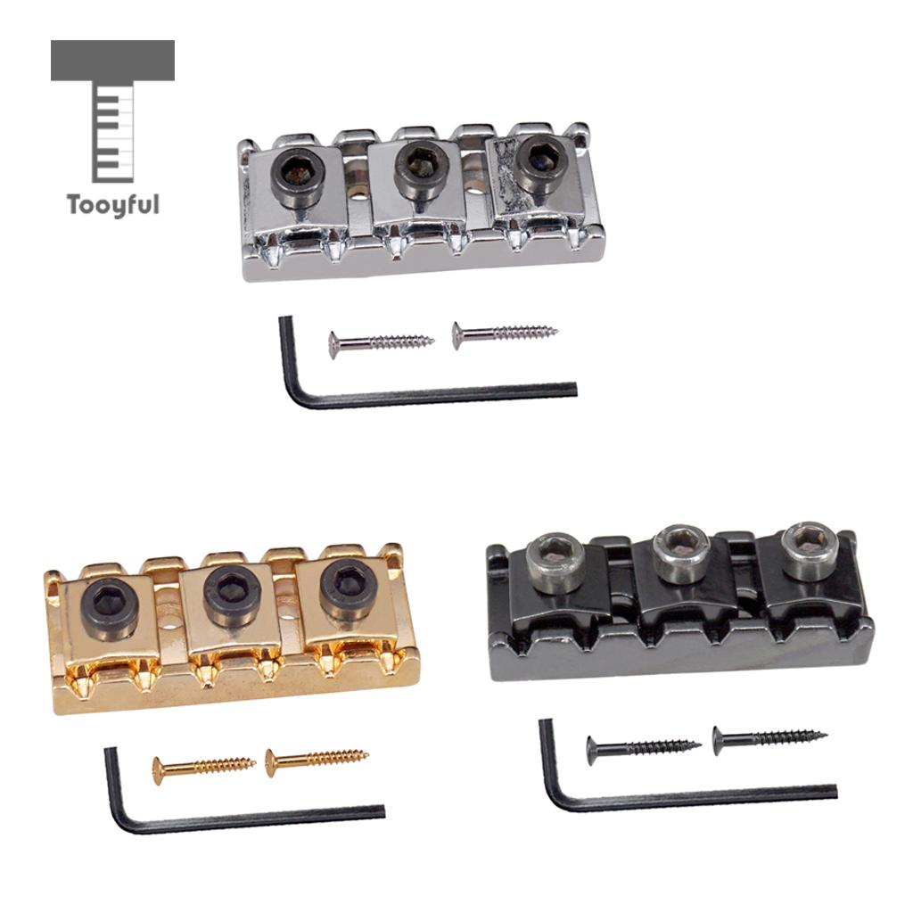 Tooyful Electric Guitar String Locking Nut With Allen Wrench Screws For Tremolo Bridge 43mm