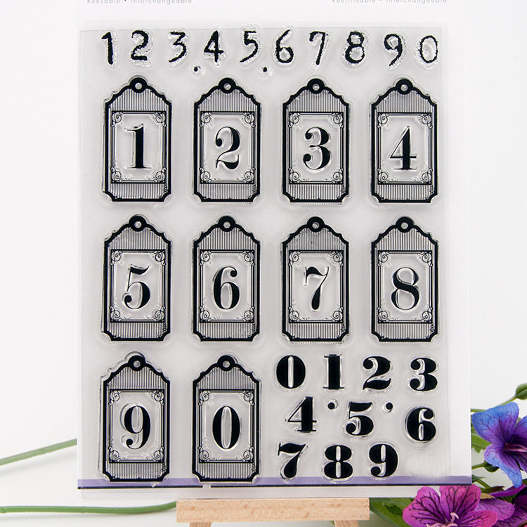 Scrapbook DIY photo card about Arabic numerals rubber stamp clear stamp transparent stamp for photo album christmas gift RZ-039 lovely animals and ballon design transparent clear silicone stamp for diy scrapbooking photo album clear stamp cl 278